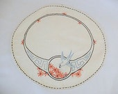 vintage embroidered doily, bird, swallow, home decor, vintage embroidery, round doily