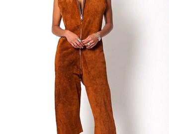 The Vintage Suede Leather Culotte Jumpsuit
