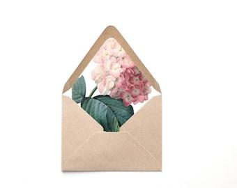 Envelope Liner Template, Pink Hydrangea Vintage Botanical, Multiple Sizes, Instant Download