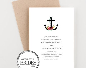 Nautical Floral Anchor Save The Date, as seen in Brides Magazine