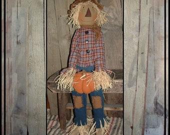 tall primitive folk art scarecrow rag doll porch sitter handmade pumpkin hand embroidered HAFAIR ofg faap HAGUILD raffia hair