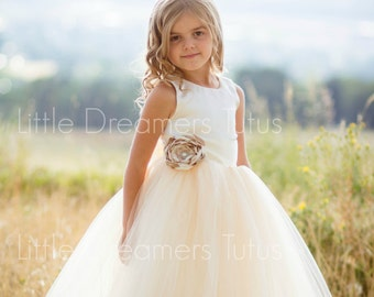 NEW! The Juliet Dress in Ivory/Light Gold with Flower Sash - Flower Girl Dress
