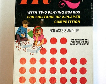 Old Board Game, Hi-Q, Double Hi-Q, 1975 by Gabriel, Game Night, Vintage Solitaire Game