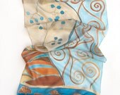 Hand painted silk scarf Golden Ray/ Blue Ocher decorative scarf/ Klimt inspired scarf.Ginkgo leaves long scarf/ Summer scarves Silk painting