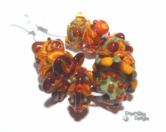 FALL CHACHA  Handmade Lampwork Bead Set - MIx of Sienna Red Orange Brown Olive Gold  - Autumn Warmth