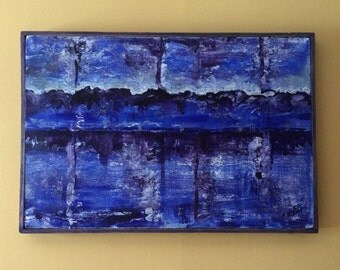 Purple Reflection Acrylic Painting Abstract Landscape Framed