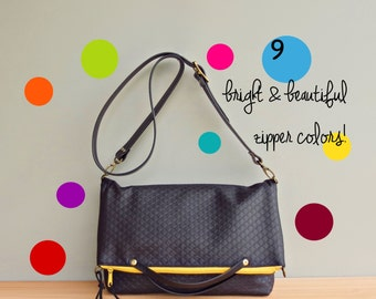 Cross Body Bag in Black with Bright Zipper, Crossbody Purse, Embossed Diamond Quilted Look Messenger Bag,  Shoulder Bag with Custom Strap