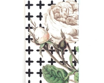 iPhone 6S Plus Case, Rose Plus Pattern iPhone 7 Case, Black and White iPhone SE Case, Floral iPhone 6 Case