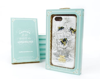 Bumblebee Botanical iPhone Case, Insect iPhone SE, Bee iPhone 6, Galaxy S6, iPhone 7, Gift Boxed Stocking Stuffer iPhone 6S Plus Case
