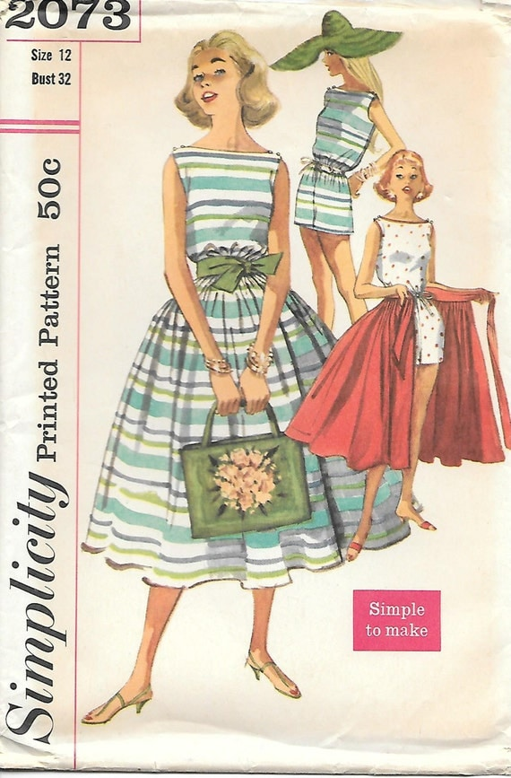 Simplicity 2073 1950s Misses Playsuit And Wrap Around Skirt