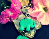 Elephant Turquoise Keyring,Elephant Turquoise Keychain,Bohochic Keyring,Lucky Elephant Keyring,Elephant Gifts,Lucky Elephant Keychain