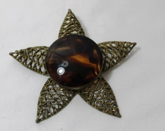Vintage Huge Star Brooch With Glass Tortoiseshell Cabochon