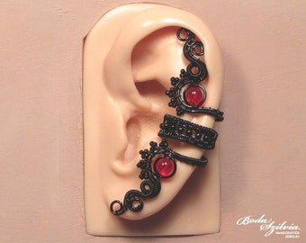 red & black GOTHIC EAR CUFF wire wrapped ear cuff, adjustable ear cuff, no piercing ear cuff, gothic earcuff, gothic jewelry gothic ear wrap