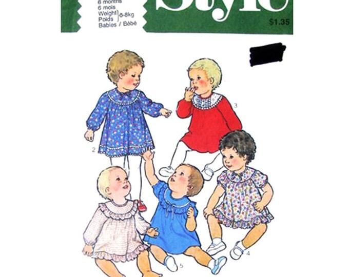 Baby Girls Flared Yoke Dress Pattern Style 2416 Ruffles Size 6 or 18 Months