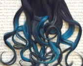 the S T A R L I G H T … StarLight Dark Black root into bright blue with silver grey gray tip in hair accent 100% human hair