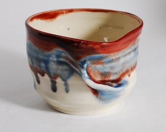 Tea Bowl, Charity, Chawan, Handleless Mug, Red, White and Blue, Three cups of Tea Charity