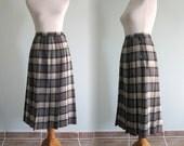 Vintage 1980s Skirt - Classic Black Plaid Wool Kilt Style Skirt - 80s L. L. Bean Skirt M