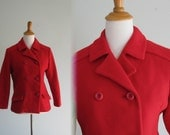 Vintage 1950s Jacket - Classic Bright Red Wool Peacoat - 50s Short Red Jacket S M