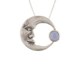 Crescent Moon Pendant- Large Sterling Silver Man in the Moon Necklace with Blue Chalcedony