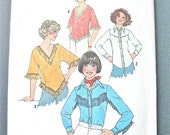 Simplicity 7767 Misses Pullover Top and Shirt from the 1970s Western Shirt Fringes Poncho Top  Vintage Sewing Pattern Bust 32.5