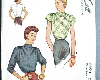 1940s McCall 6690 Vintage Sewing Blouse Pattern printed Pattern Bust 30 inches