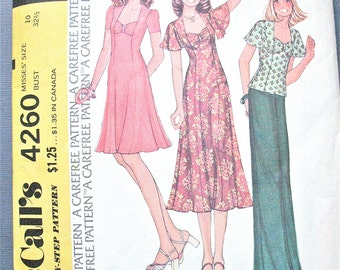 McCall's 4260 OnePiece Dress Vintage Sewing Pattern Maxi Midi Fitted 1970s   Bust 32.5