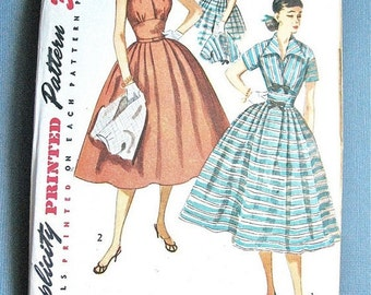 Uncut 1950s Halter Dress Vintage Sewing Pattern Fitted Bodice Full Skirt Short Jacket Bolero Simplicity 3238 Vintage Sewing Pattern  Bust 30