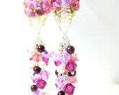 Purple Fuchsia Floral Earrings, Crystal & Pearl Cluster Earrings Long Dangle Earrings Cottage Chic Jewelry Nature Earrings Lampwork Earrings