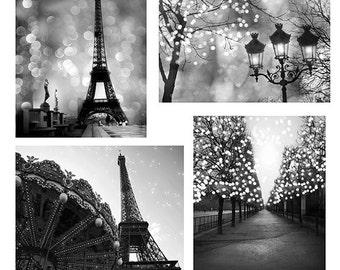Paris Black and White Photography, Paris Sparkling Night Lights, Paris Black and White Prints Wall Art, Paris Print Set, Paris Fairy Lights