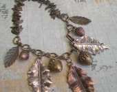 On Sale Collage Necklace, Pinecone, Acorn, leaf Necklace Earring Set, Woodland Theme