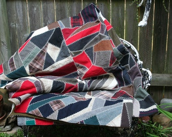 Vintage Wool Crazy Quilt Made with Vintage Wool Suits and Hand Stitching / Stunning
