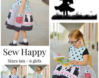 Back to School Dress - SEW HAPPY  Dress Pattern -  Back to School Jumper  - Instant Download - PDF Sewing Pattern Baby 6 Months - 6 Children