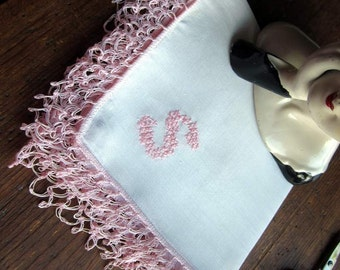 """Vintage White Handkerchief with Pink Lover's Knot Stitch and Hand Embroidered """"S"""" Monogram in Pink."""