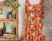 Marion Liberty Print Dress - floral dress - flared dress - orange dress - knee length dress - casual dress - Liberty of London dress