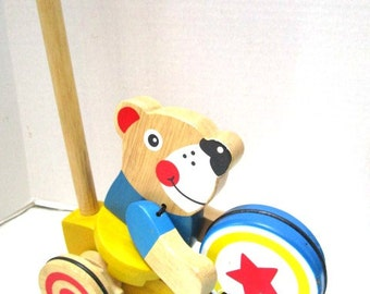 REDUCED Vintage Bear Playing Drum Push Toy Blue Yellow Red, Melissa and Doug Child Safe Toddler Toy, Smile, Bull's Eye Wheels, Nursery Decor