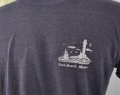 Distressed Burnout Tee 80s Vintage Tshirt York Beach Maine Nautical Summer Vacation Navy Blue Super Soft Thin TShirt MEDIUM
