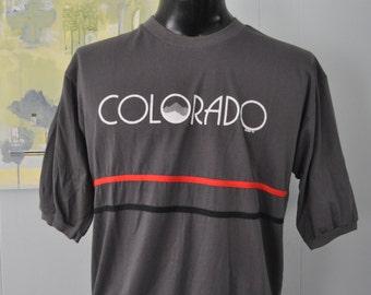 Vintage TShirt 1986 Unique Colorado Striped Tee Nature outdoors Black Gray Red XL