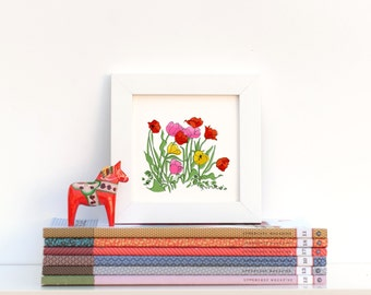 Poppy Tulips Flowers, Illustrated + Perforated Hand-Signed Giclée Mini Print Greeting Card