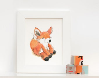 Baby Fox Nursery Watercolor Art : Print of Original Watercolour
