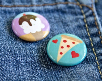 Junk Food 1-Inch Button/Pin/Badge Set | Pizza and Ice Cream