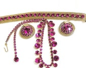 Weiss Hot Pink Set Necklace, Earrings and Bracelet, Weiss Parure, Weiss Pink 3 Pc Set Demi Parure