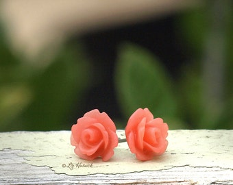 Rose Earrings, Rosette Stud Earrings, Frosted Coral Pink, Bohemian, Carved Look Roses - Stainless Steel, Titanium, or Sterling Silver Posts