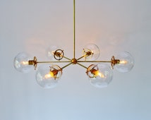 Modern Brass Chandelier With Clear Glass Orb Globe Shades, 6 Sockets, Handmade Hanging Lighting Fixture, BootsNGus Lights and Home Decor