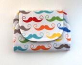 geek moustache children's fabric wallet / purse . geek chic rainbow moustaches with grey lining . kids coin purse . kids wallet