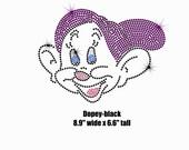 "8.9"" Dopey iron on rhinestone transfer applique patch for Disney Snow White t-shirt"