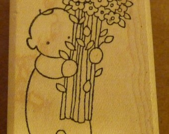 Reduced! Baby with Flower Bouquet - New WM Rubber Stamp - Cards - Notes - Scrapbooks - ATCs - FREE Shipping