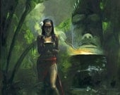 TIKI GODDESS Giclee Print on Canvas South Pacific Fantasy by Mike Hoffman