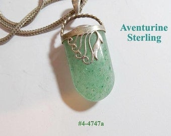 Price Lowered - FREE SHIP Aventurine Sterling Pendant And Chain (4-4747)