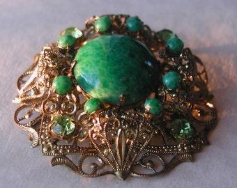 Czech Green Filigree Brooch Peking Glass Brass Czechoslovakia Signed Dimensional Vintage