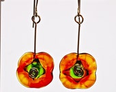 Fall earrings hand blown glass flowers in autumn colors dangle earrings sterling silver and lampwork glass by Paulbead fall style jewelry
